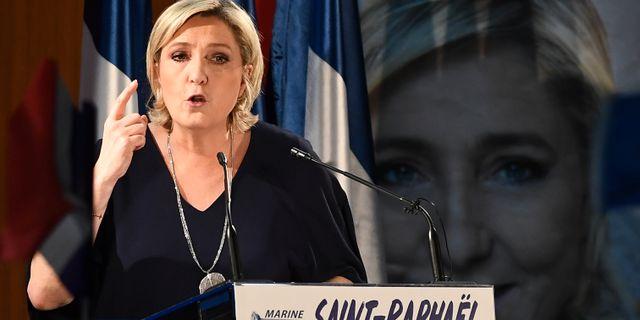 Front National-ledaren Marine Le Pen, som stöttas av Ryssland. BORIS HORVAT / AFP