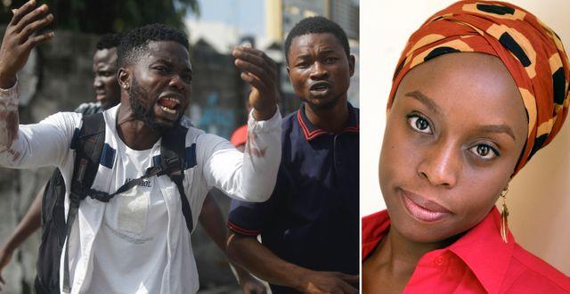 Protester i Lagos/Chimamanda Ngozi Adichie. TT