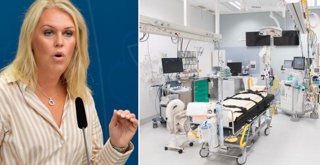 Lena Hallengren (S) och en arkivbild på en operationssal.  TT