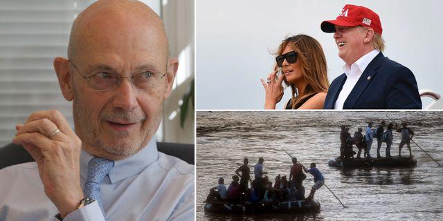 Pascal Lamy, Melania och Donald Trump, migranter som tar sig från Guatemala till Mexiko på flottar. TT