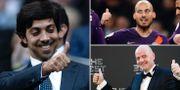 Manchester Citys ägare, shejk Mansour från Förenade Arabemiraten/Citys David Silva/Gianni Infantino. TT