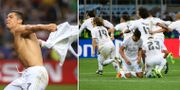 Ronaldo slet av sig tröjan efter vinnande straffen. TT
