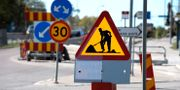 Skylt för vägarbete. JANERIK HENRIKSSON / TT / TT NYHETSBYRÅN