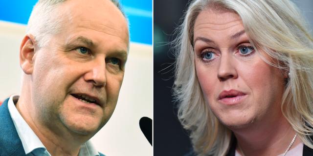 Jonas Sjöstedt (V) och socialminister Lena Hallengren (S). TT