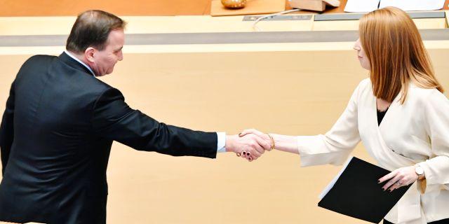 Statsminister Stefan Löfven (S) och C-ledaren Annie Lööf (C) Henrik Montgomery/TT / TT NYHETSBYRÅN