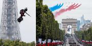"""Mest uppmärksamhet under paraden väckte  Franky Zapata som visade upp sin """"flyboard"""". TT"""