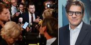 Vänster: Jimmie Åkesson efter partiledardebatten i SVT. Höger: Jan Helin, SVT TT