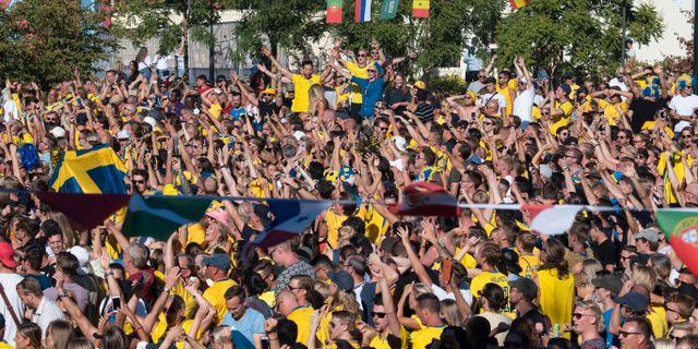 Firande svenskar i Folkets park under VM 2018. Johan Nilsson/TT / TT NYHETSBYRÅN