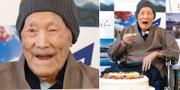 Bild från 2018. Masazo Nonaka äter tårta för att fira att han var världens äldsta man. TT