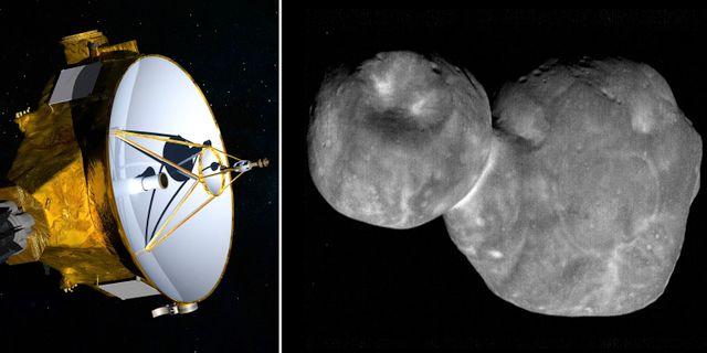En illustration av rymdsonden New Horizons/Nasas bild på Ultima Thule  TT