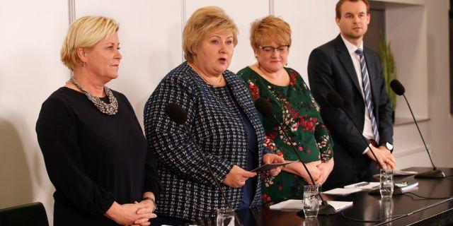 Partiledarna för regeringspartierna. Bendiksby, Terje / TT NYHETSBYRÅN