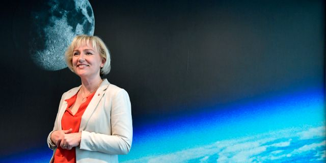 Helene Hellmark Knutsson, minister för högre utbildning- och forskning, (S) presenterar regeringens strategi för svensk rymdverksamhet Jessica Gow/TT / TT NYHETSBYRÅN