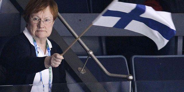 Finlands tidigare president Tarja Halonen. Här på hockey under OS i Vancouver 2010. TT