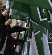Nordiska motståndsrörelsen demonstrerar. Pontus Lundahl/TT / TT NYHETSBYRÅN