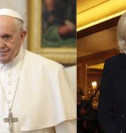 Påven Franciskus och Marine Le Pen, ledare för Nationell samling.  TT