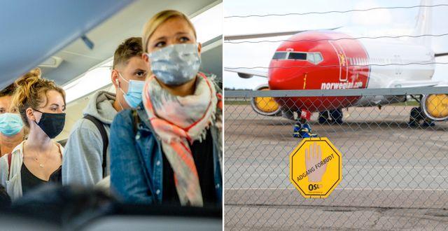 Arkivbilder: Resenärer med munskydd, Norwegianplan. TT