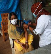 En kvinna vaccineras i Hyderabad, Indien.  Mahesh Kumar A / TT NYHETSBYRÅN