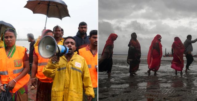 Räddningsarbetare/Pilgrimer som evakueras. TT