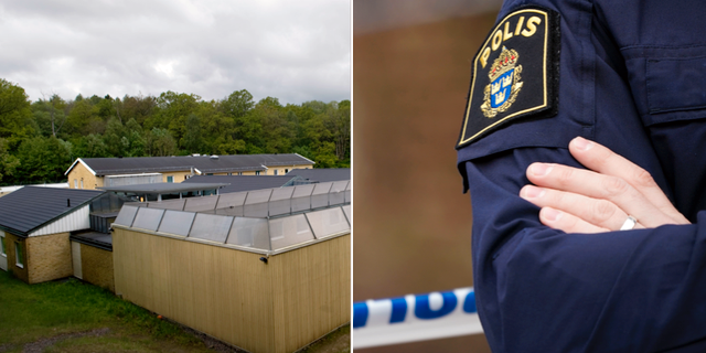 Migrationsverkets förvar i Kållered samt polis vid en avspärrning.  TT Nyhetsbyrån