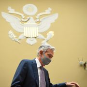 Federal Reserve Chair Jerome Powell wears a protective mask as he arrives for a House Select Subcommittee on the Coronavirus hearing on Capitol Hill in Washington on Wednesday, Sept. 23, 2020. Kevin Dietsch / TT NYHETSBYRÅN