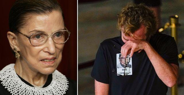Ruth Bader Ginsburg/sorg utanför högsta domstolen efter dödsbeskedet. TT