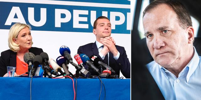 Till vänster:  Marine Le Pen och Jordan Bardella från franska högerpopulistiska partiet Nationell samling. Till höger: Stefan Löfven.  TT