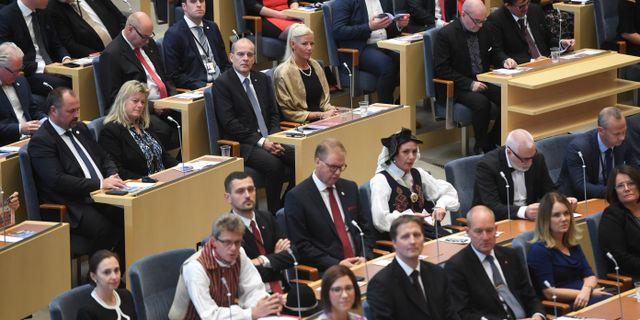 Riksdagsledamöter under riksmötets öppnande 2018.  Fredrik Sandberg/TT / TT NYHETSBYRÅN
