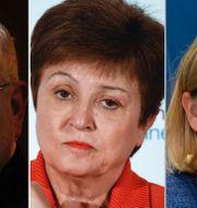 Från vänster, FT:s Martin Wolf, IMF:s Kristalina Georgieva och Sveriges finansminister Magdalena Andersson TT