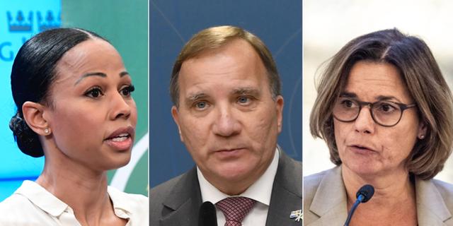 EU-parlamentarikern Alice Bah Kuhnke (MP), statsminister Stefan Löfven (S) och vice statsminister Isabella Lövin (MP).  TT
