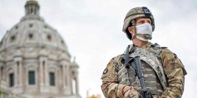 En medlem av nationalgardet i Minnesota. Glen Stubbe / TT NYHETSBYRÅN