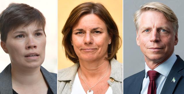 Annika Hirvonen-Falk (MP), Isabella Lövin (MP) och Per Bolund (MP).