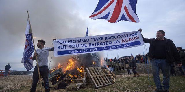 Demonstrationer mot den brittiska hanteringen avbrexit. NIKLAS HALLEN / AFP