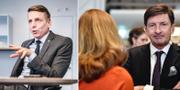 Finansmarknadsminister Per Bolund (MP), Swedbanks styrelseordförande Lars Idermark, vd Birgitte Bonnesen med ryggen mot.  TT