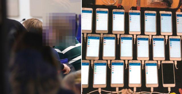 Tre män åtalas för att ha fuskat på högskoleprovet genom att använda mycket små hörsnäckor. Telefoner som var uppkopplade i gruppsamtal. Foto: Polisen TT