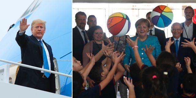 Donald Trump/Angela Merkel träffar flyktingbarn i Libanon. TT