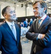 Leif Östling. Li Shufu och Håkan Samuelsson.  TT