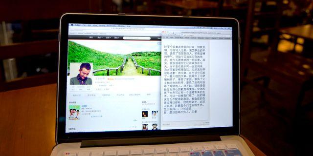En dator med sajten Weibo/illustrationsbild.  Andy Wong / TT NYHETSBYRÅN