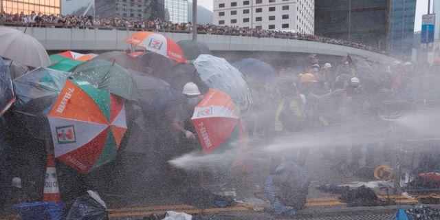 Polisen använder tårgas mot demonstranterna.  TYRONE SIU / TT NYHETSBYRÅN