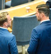 Andreas Carlson (KD) och Johan Forssell (M). Henrik Montgomery/TT / TT NYHETSBYRÅN