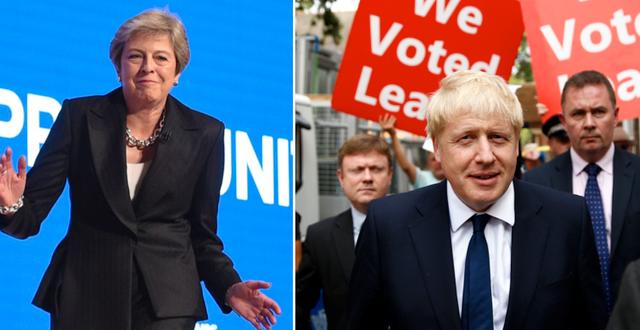 Theresa May och Boris Johnson. TT