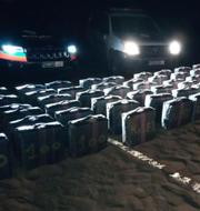 Delar av narkotikan som hittades gömd i Marockos öken DGSN/Twitter