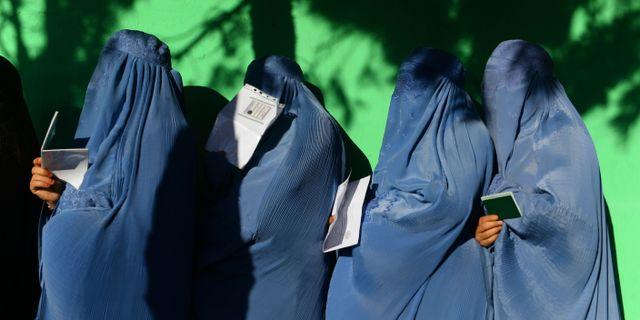 Kvinnor i kö för att rösta i Herat. HOSHANG HASHIMI / AFP