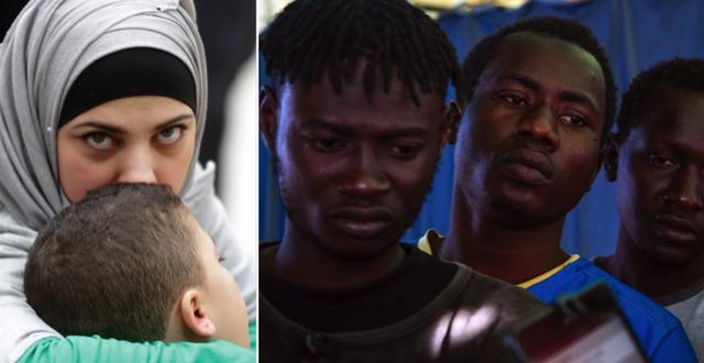"""Kvinna från Syrien med sitt barn har fått flyga till Italien som en del av en """"humanitär luftsluss""""/migranter från Libyen väntar på registrering i Italien TT"""