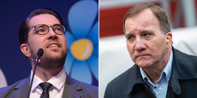 Jimmie Åkesson (SD)/Stefan Löfven (S). TTs