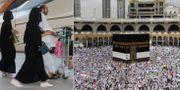 Pilgrimer cirkulerar kring Kaaba i den stora moskén i Mecka.  AP