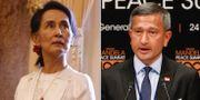 Aung San Suu Kyi, Myanmars ledare. Singapores utrikesminister Vivian Balakrishnan.  TT