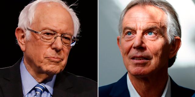 Bernie Sandes / Tony Blair Matt Rourke / TOLGA AKMEN / AFP