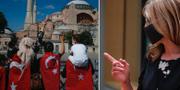 Kvinnor med turkiska flaggor utanför Hagia Sofia och Bulgariens utrikesminister Ekaterina Zharieva. TT