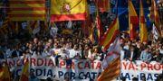 Protesttåget i Barcelona under söndagen. LLUIS GENE / AFP