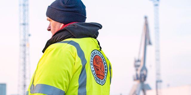 Hamnarbetare strejkar i Malmö hamn på onsdagen.  Johan Nilsson/TT / TT NYHETSBYRÅN